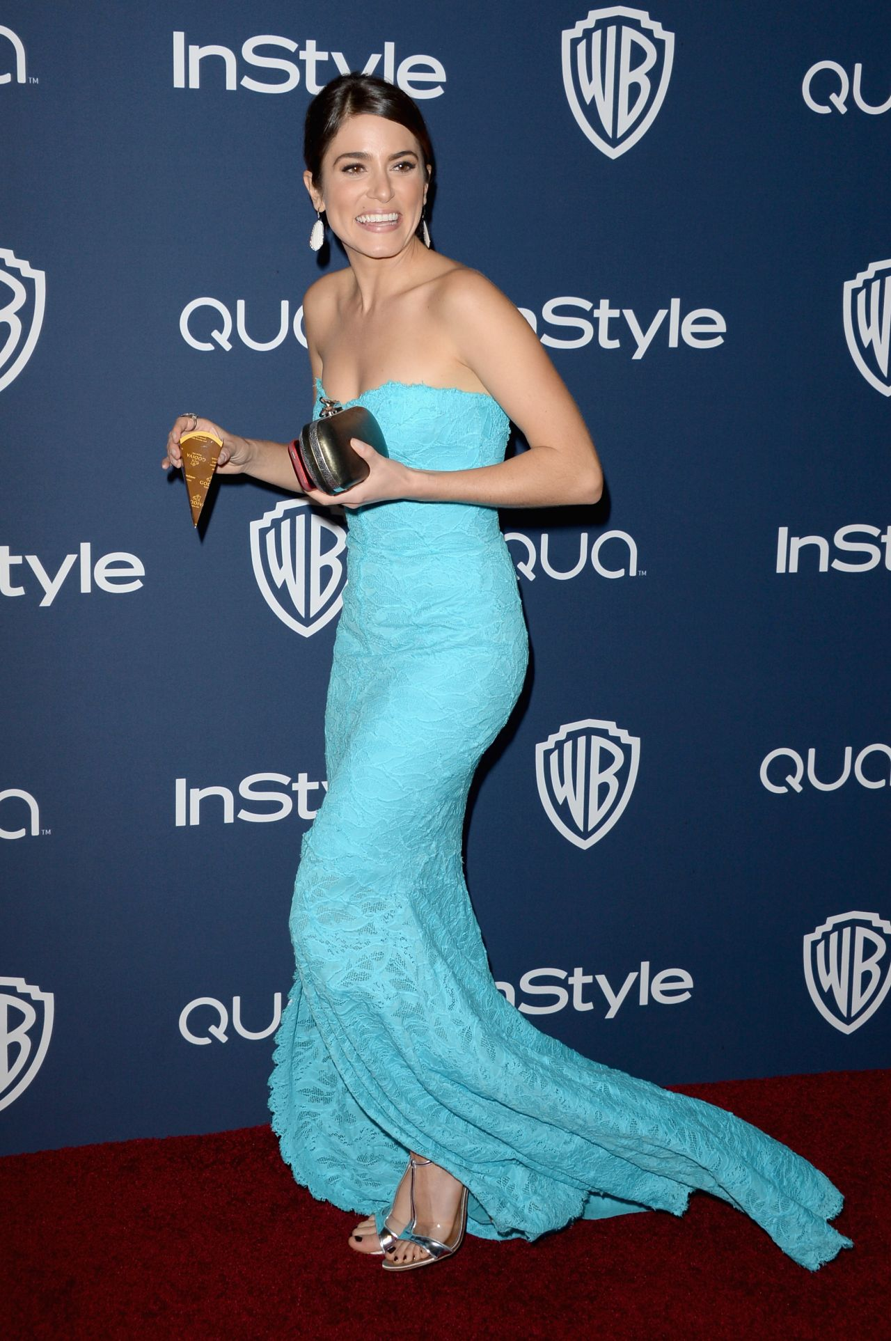 Nikki Reed Wearing Monique Lhuillier at 2014 InStyle And Warner Bros. Golden Globe After-Party