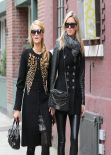 Paris Hilton & Nicky Hilton Street Style - Meat Packing District In NY, January 2014