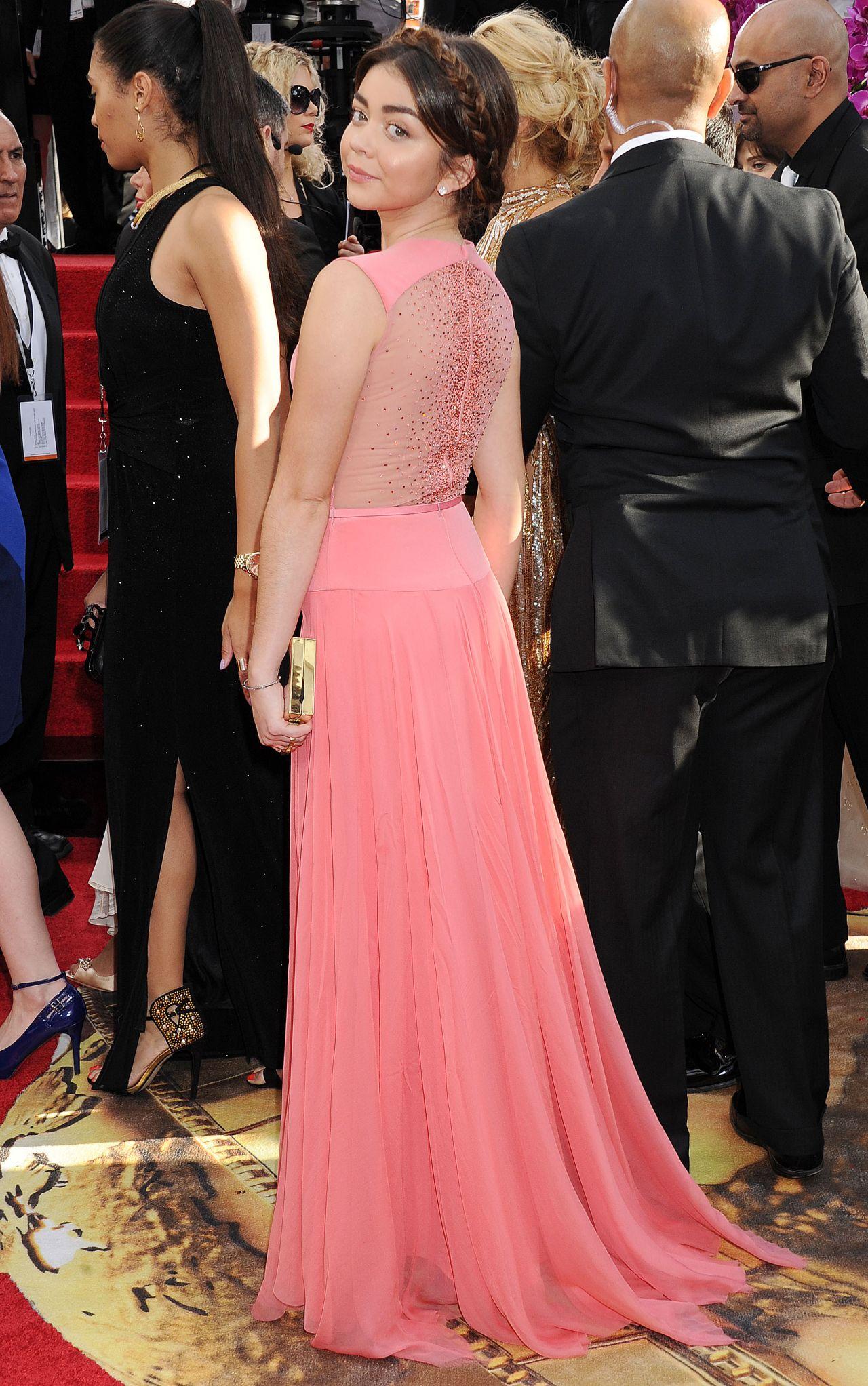 Sarah Hyland Wears George Hobeika St Annual Golden Globe Awards