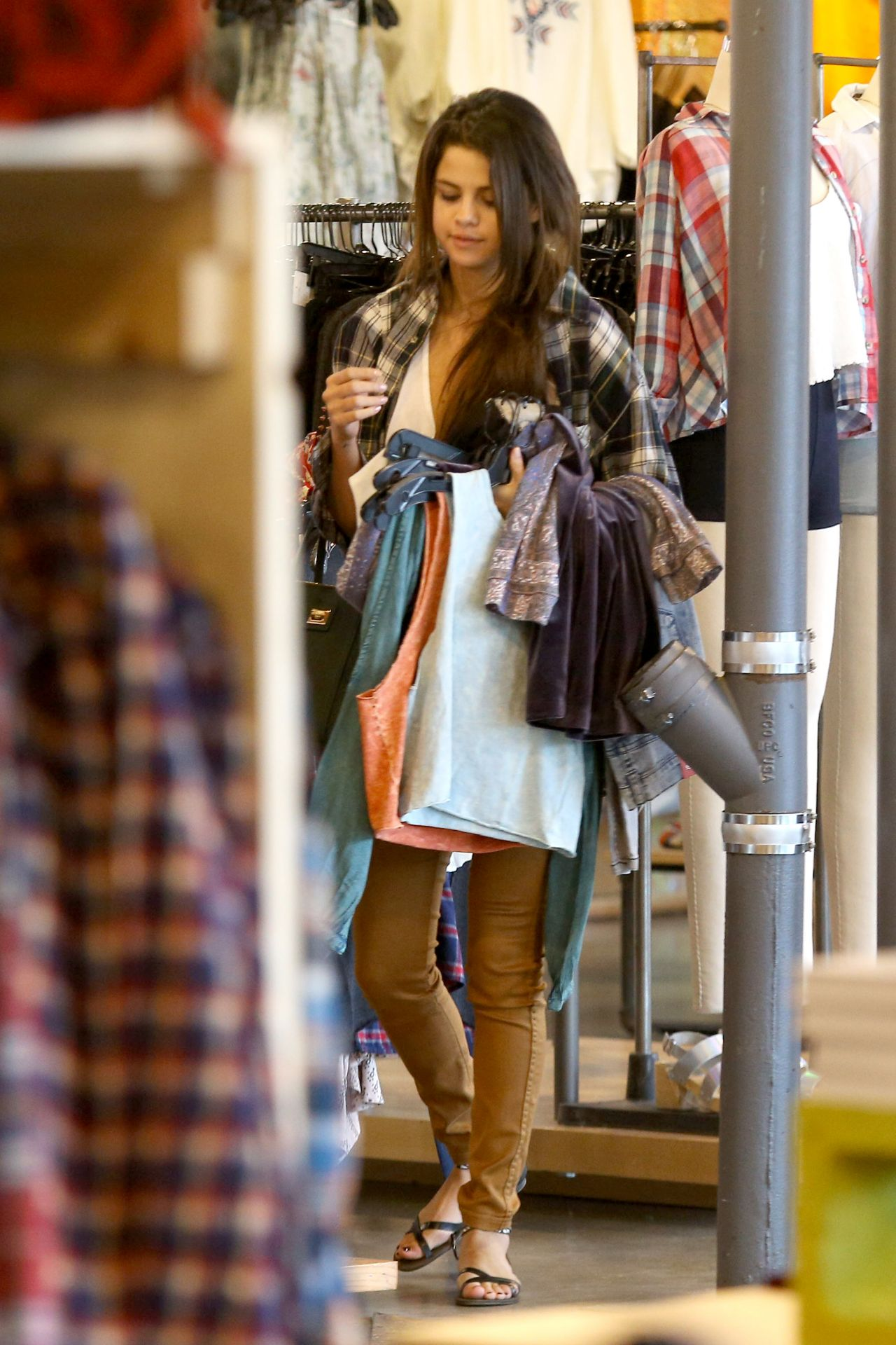 Selena Gomez Street Style Shopping With A Friend In