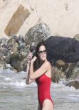 Stephanie Seymour in Red Swinsuit  - St. Barts, January 2014