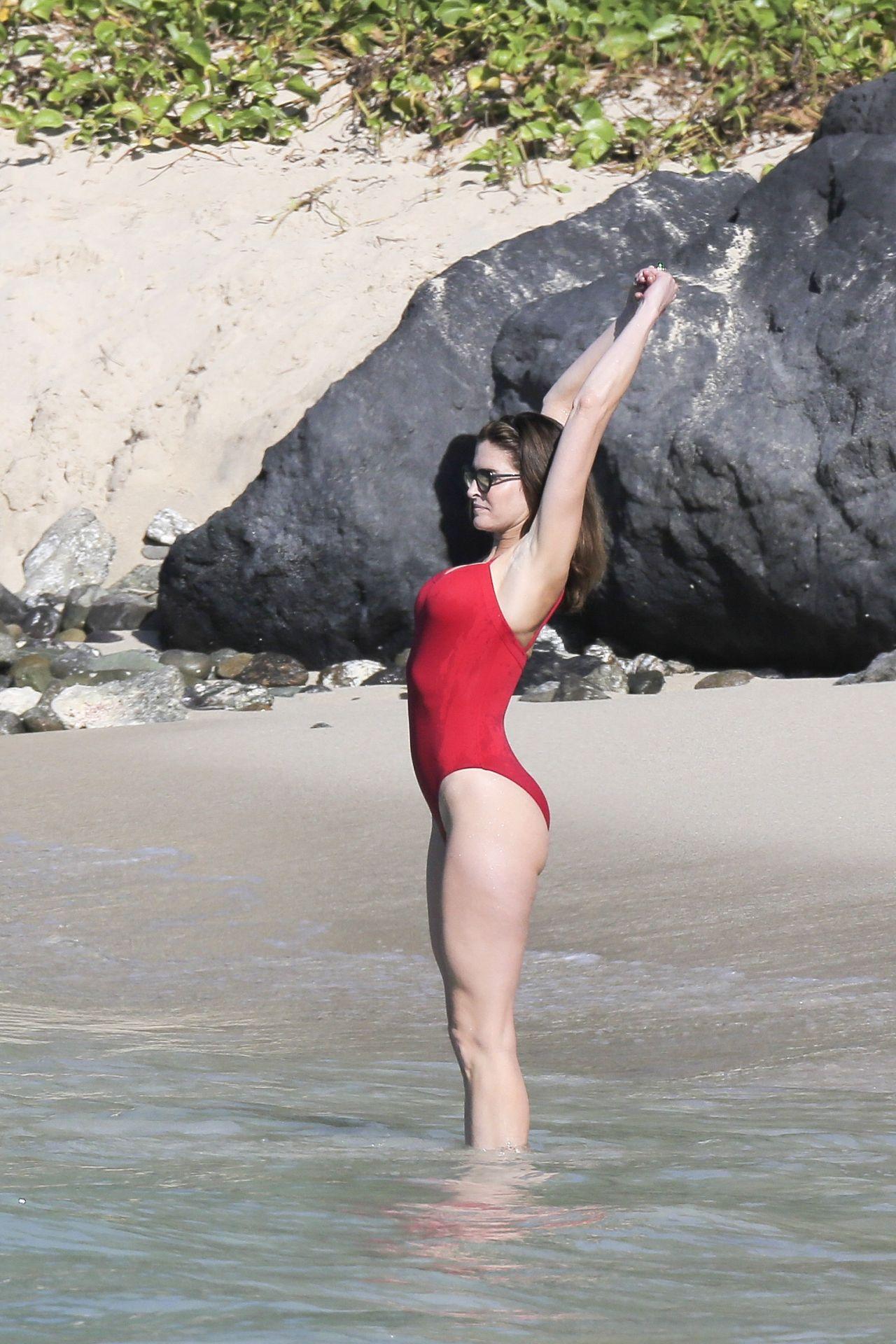 Stephanie Seymour In Red Swinsuit St Barts January 2014