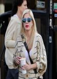 Tori Spelling Street Style - in Jeans Out In Los Angeles - January 2014