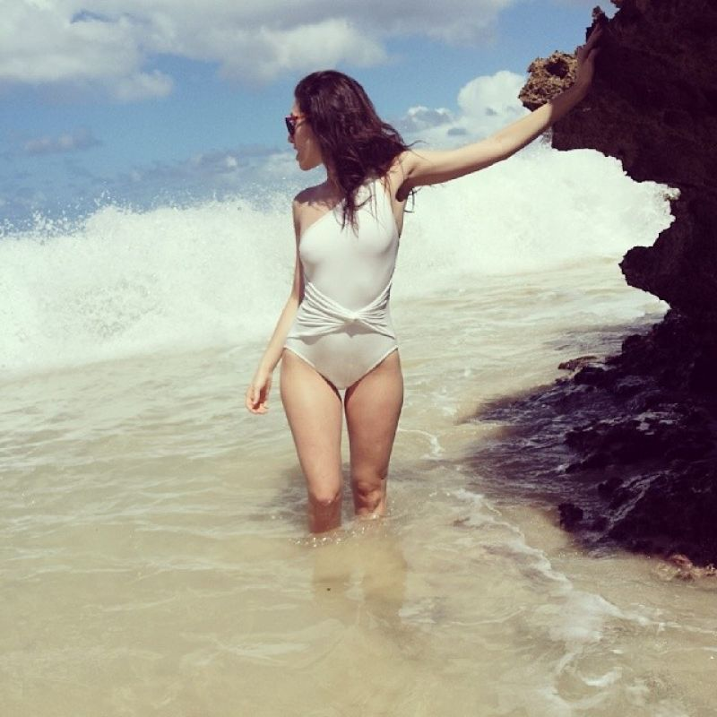 Emmy Rossum in a Swimsuit at the Beach, February 2014