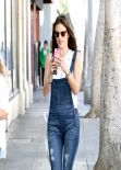 Alessandra Ambrosio in Denim Suspenders - Shopping in Santa Monica - February 2014