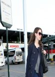 Alison Brie Street Style - Bus Station in Milan - Italy, Feb. 2014