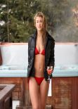 Amy Willerton Shows Off Bikini Body in a Red Two-Piece in Switzerland