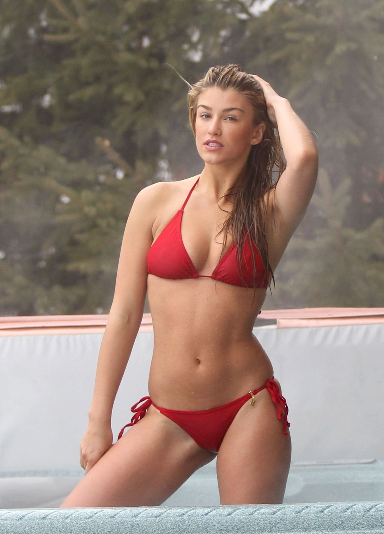 Amy Willerton Shows Off Bikini Body In A Red Two Piece In
