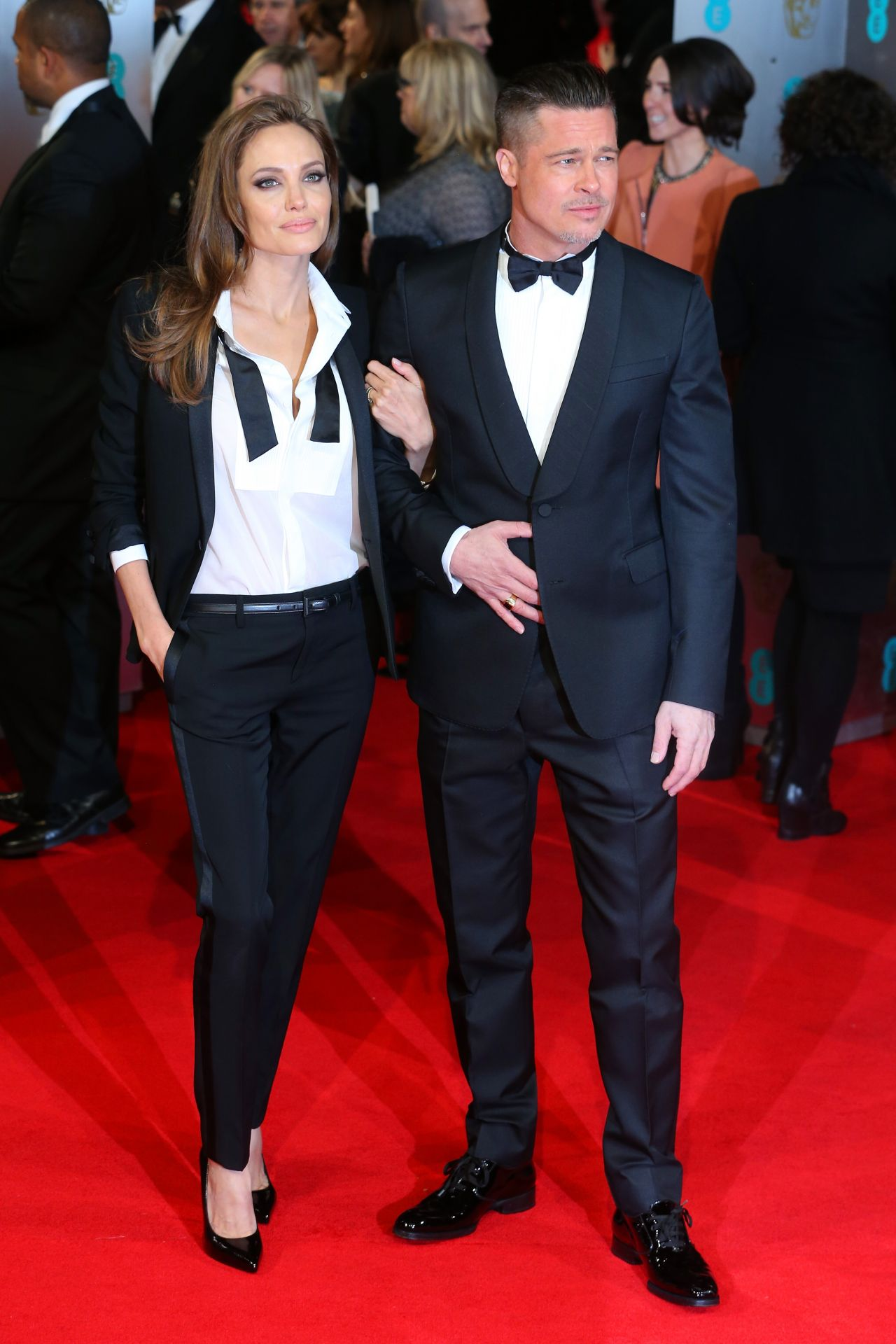 Angelina Jolie In Saint Laurent & Brad Pitt in Valentino - 2014 BAFTA Awards Red Carpet