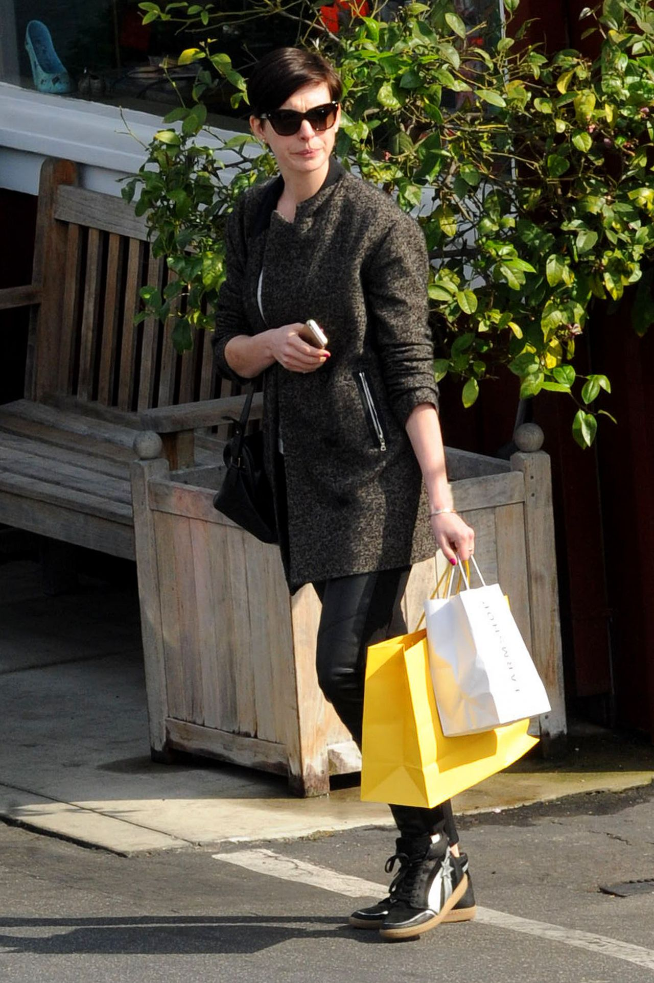 Anne Hathaway Street Style – Brentwood, February 2014