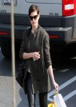 Anne Hathaway Street Style - Brentwood, February 2014