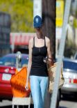Anne Hathaway Street Style - in spandex, out in Los Angeles - February 2014