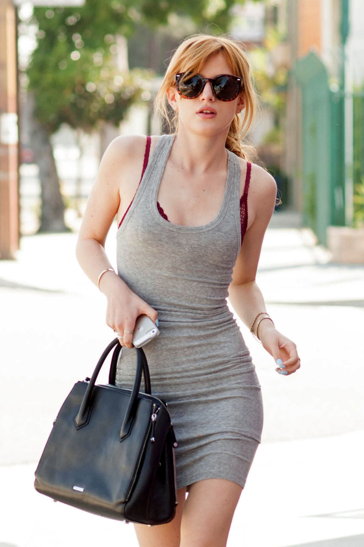 Bella Thorne in Spandex Mini Dress - Heads to a Recording Studio in LA, February 2014