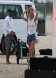 Candice Swanepoel Photoshoot Candids - Miami, February 2014