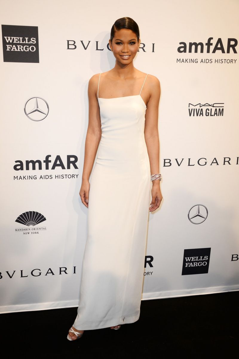 Chanel Iman Wearing Calvin Klein – 2014 amfAR New York Gala
