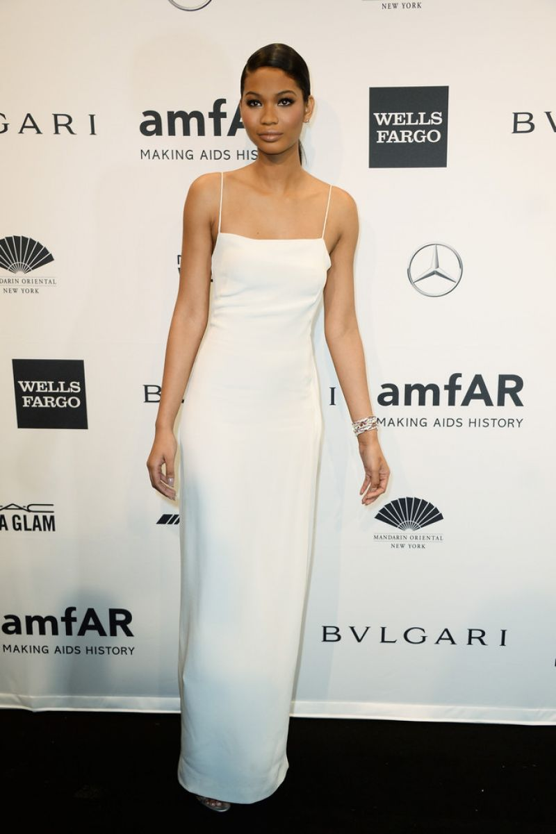 chanel iman wearing calvin klein � 2014 amfar new york gala