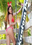 Claudia Romani in Bikini - Valentine's Paddleboard Shoot at Miami Beach. February 2014