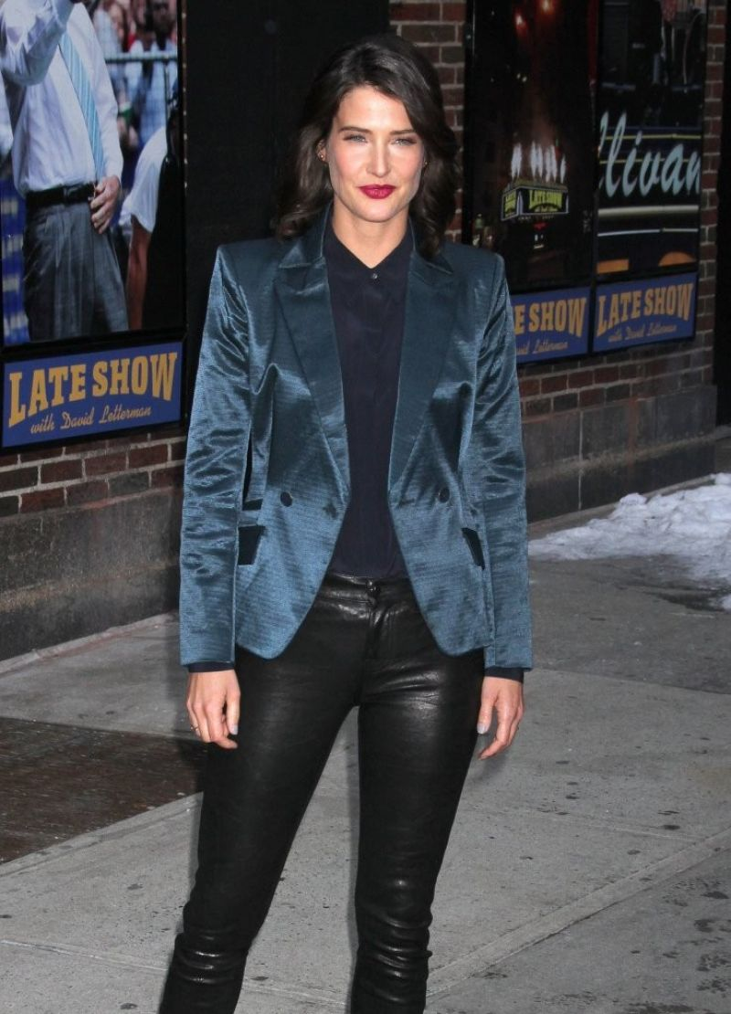 Cobie Smulders - Late Show with David Letterman in New York City, Feb. 2014