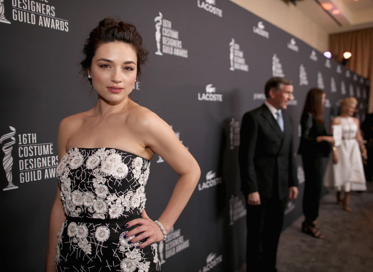 Crystal Reed Wearing Naeem Khan Dress - 2014 Costume Designers Guild Awards in Beverly Hills