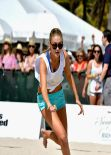 Gigi Hadid - Sports Illustrated Swimsuit Beach Volleyball Tournament in Miami, February 2014