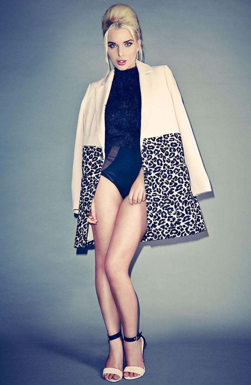 Helen Flanagan Photoshoot Leopard Print Coat And Underwear