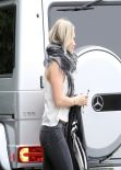 Hilary Duff in Red Ankle Boots - Out in LA, Febraury 2014