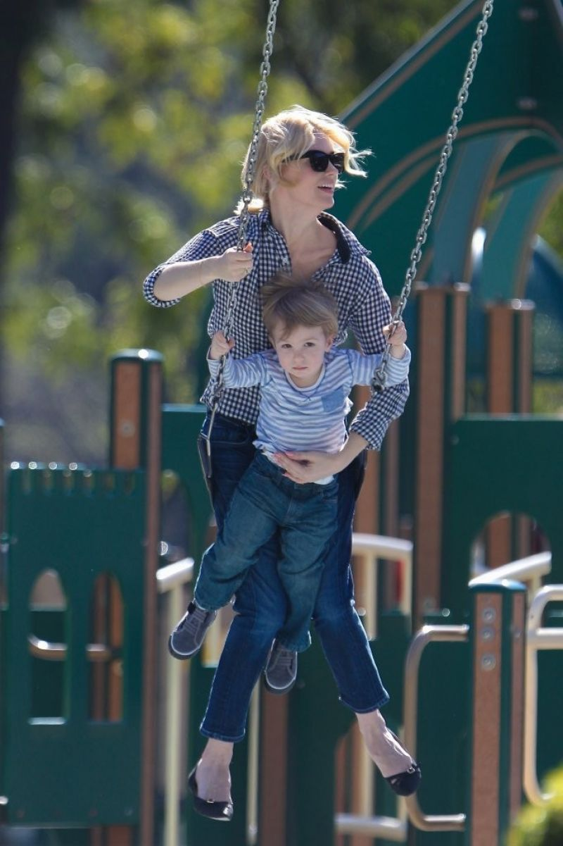 January Jones Spotted at The Playground With Her Kid ...