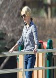 January Jones Spotted at The Playground With Her Kid - February 2014