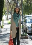 Jessica Alba - Real Los Angeles Street Style: Winter 2014 - Going to a Business Meeting in Westwood