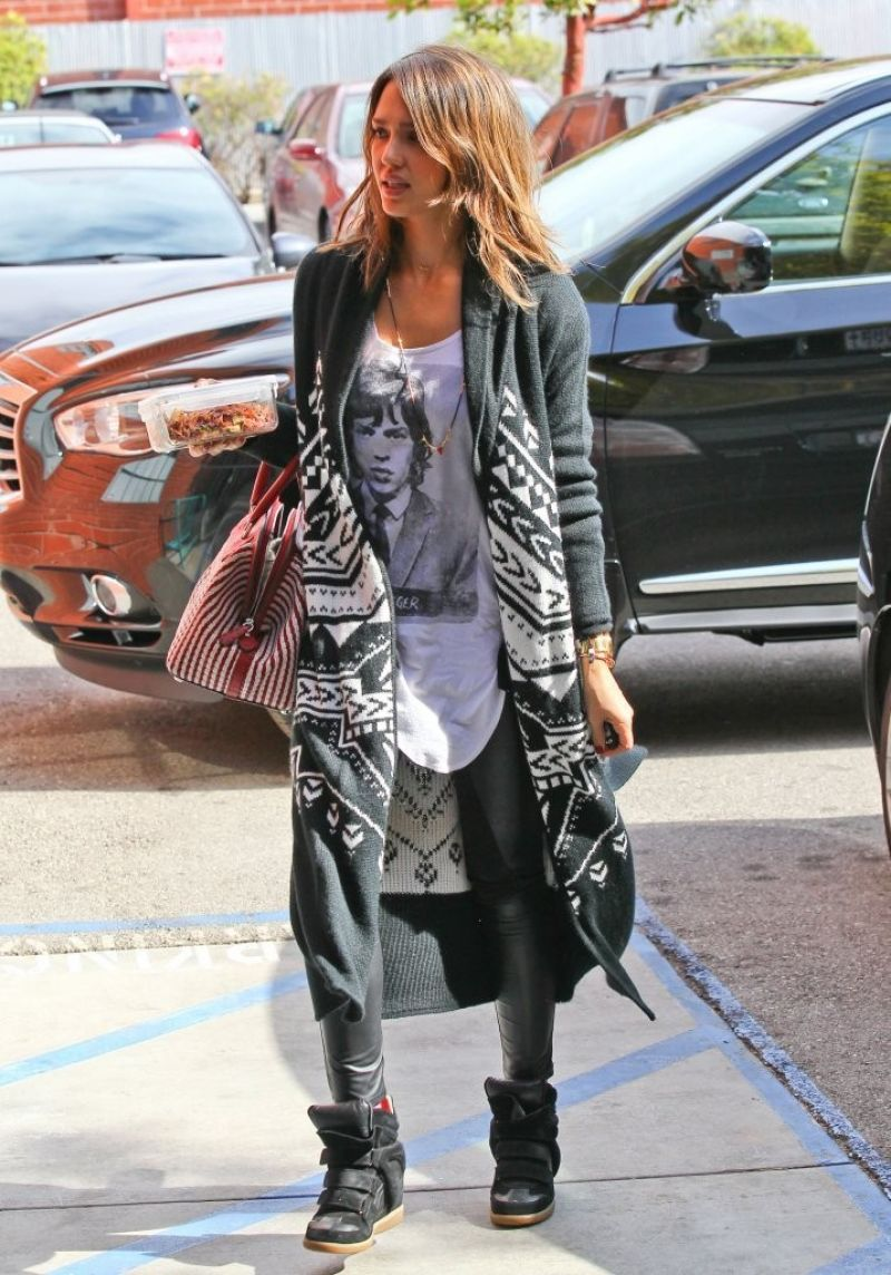Jessica Alba Street Style Wearing A Young Mick Jagger T