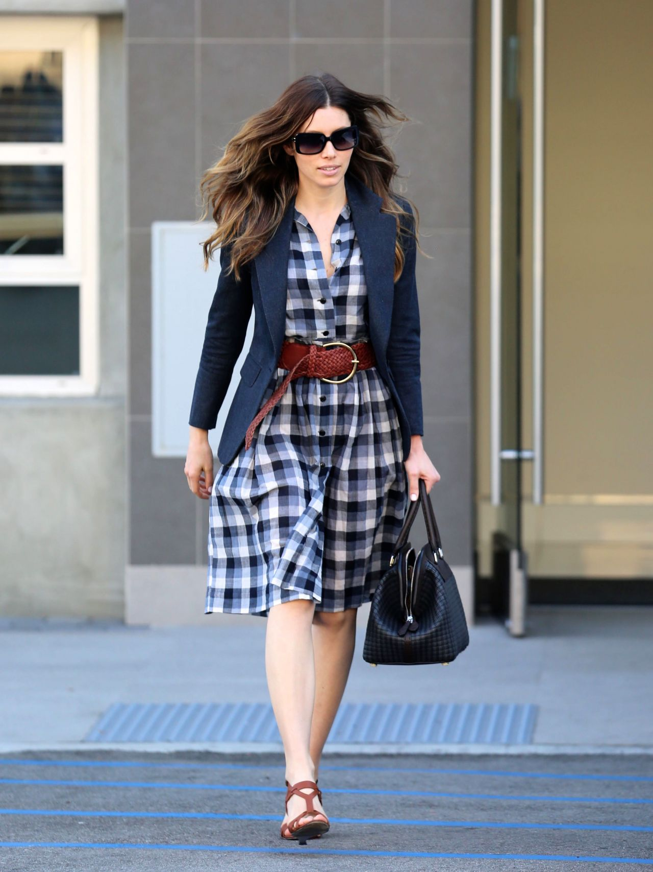 Jessica Biel in Belted Plaid Dress - Out and About in Santa Monica