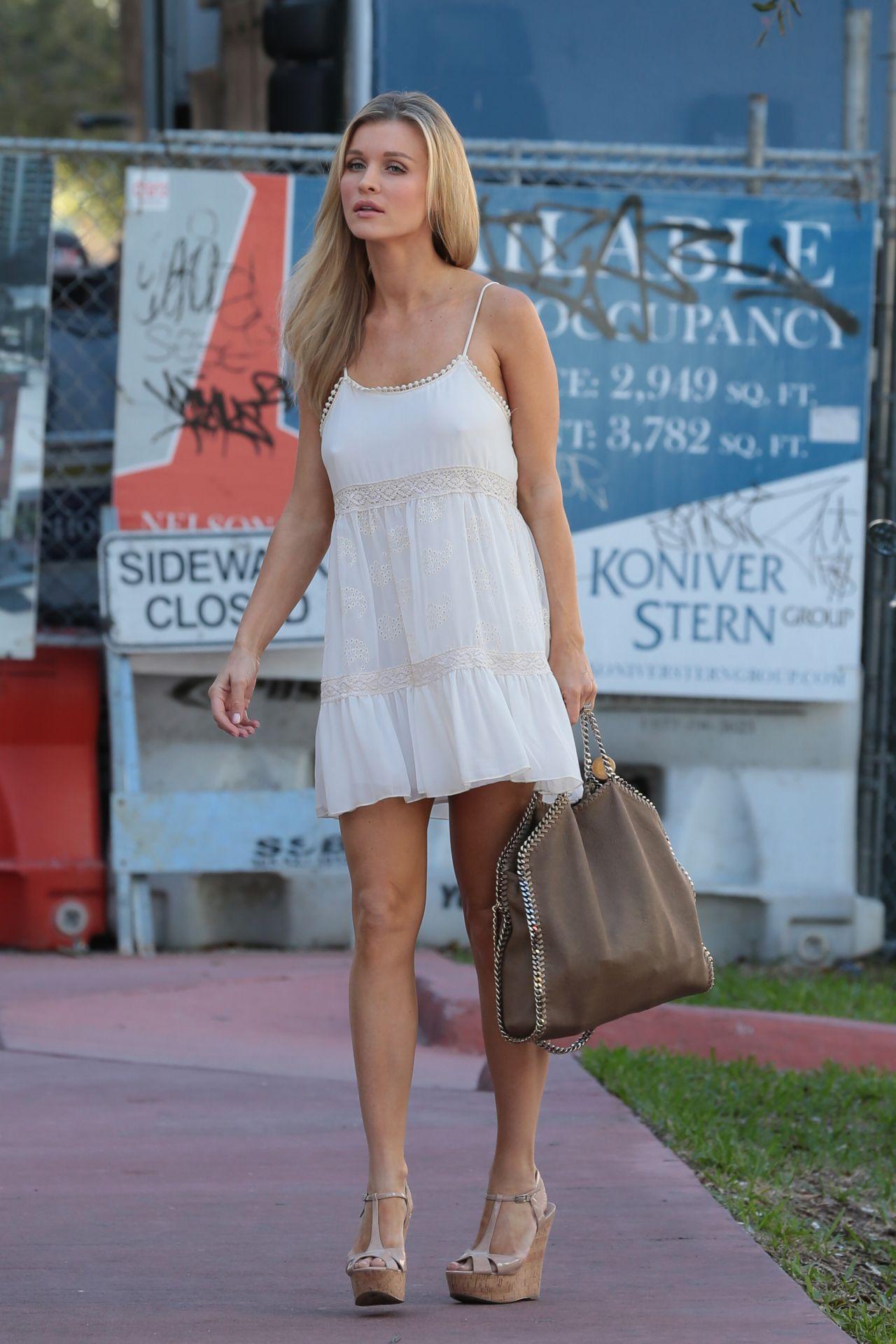Joanna Krupa In White Mini Dress Out In Miami February 2014