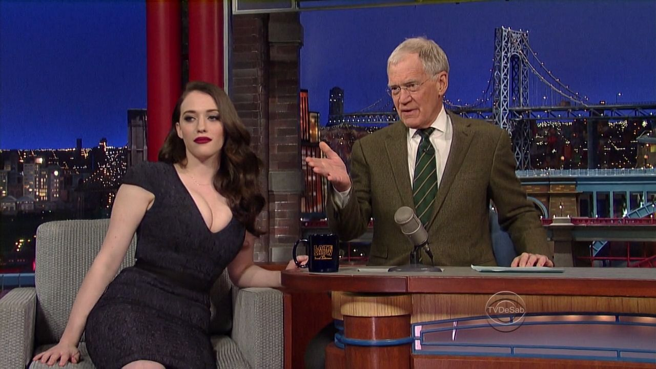 Kat Dennings - Late Show with David Letterman in New York (Screencaps)