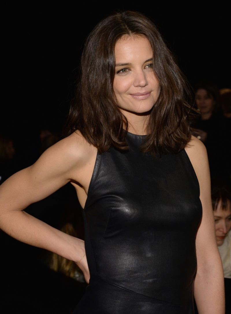 Katie Holmes Leather Outfit at Donna Karan New York 30th Anniversary Fashion Show - February 2014