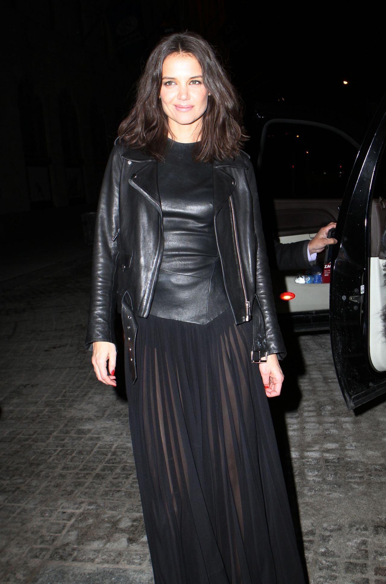 Katie Holmes Leather Outfit At Donna Karan New York 30th