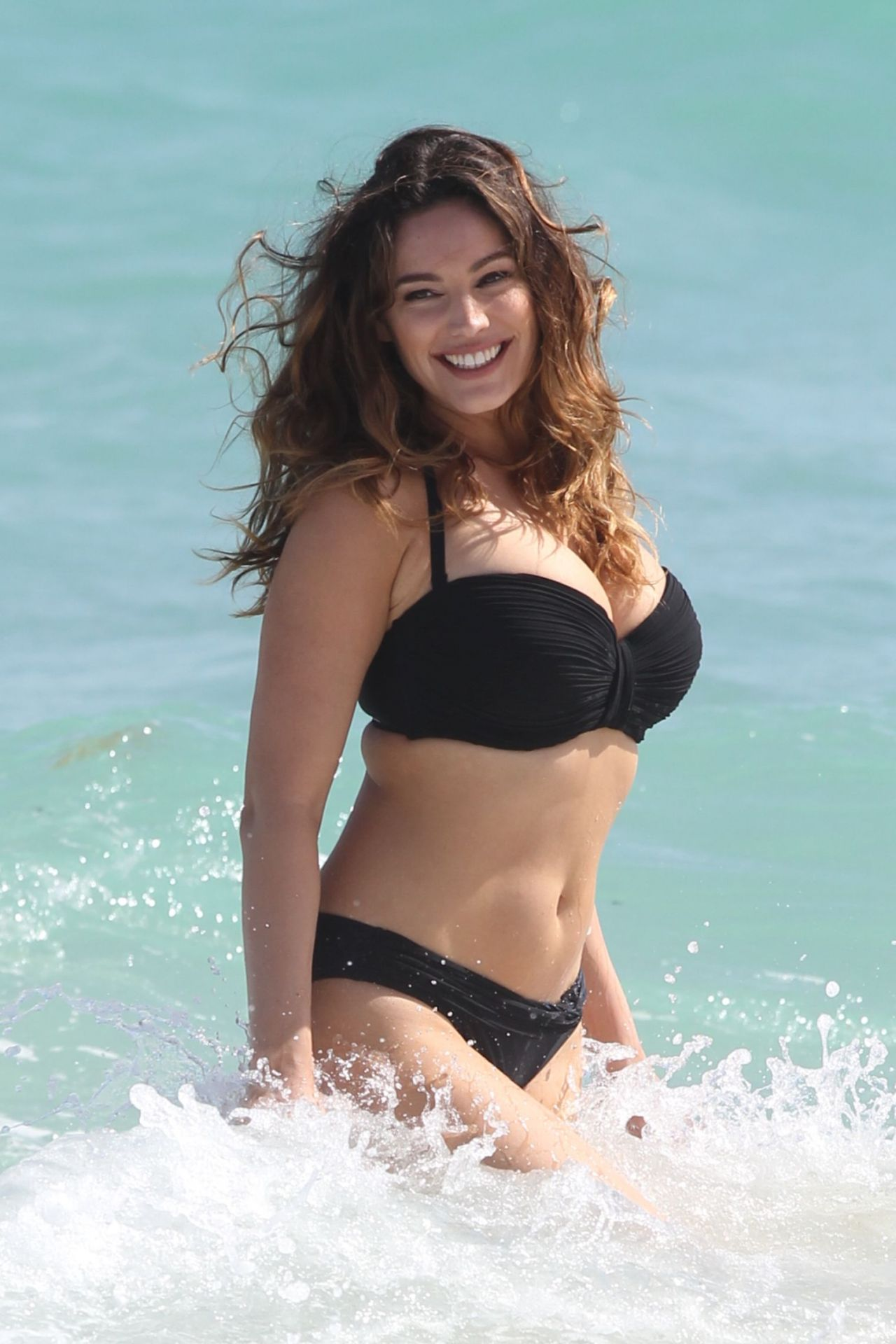 Kelly Brook In Black Bikini Miami Beach February 2014