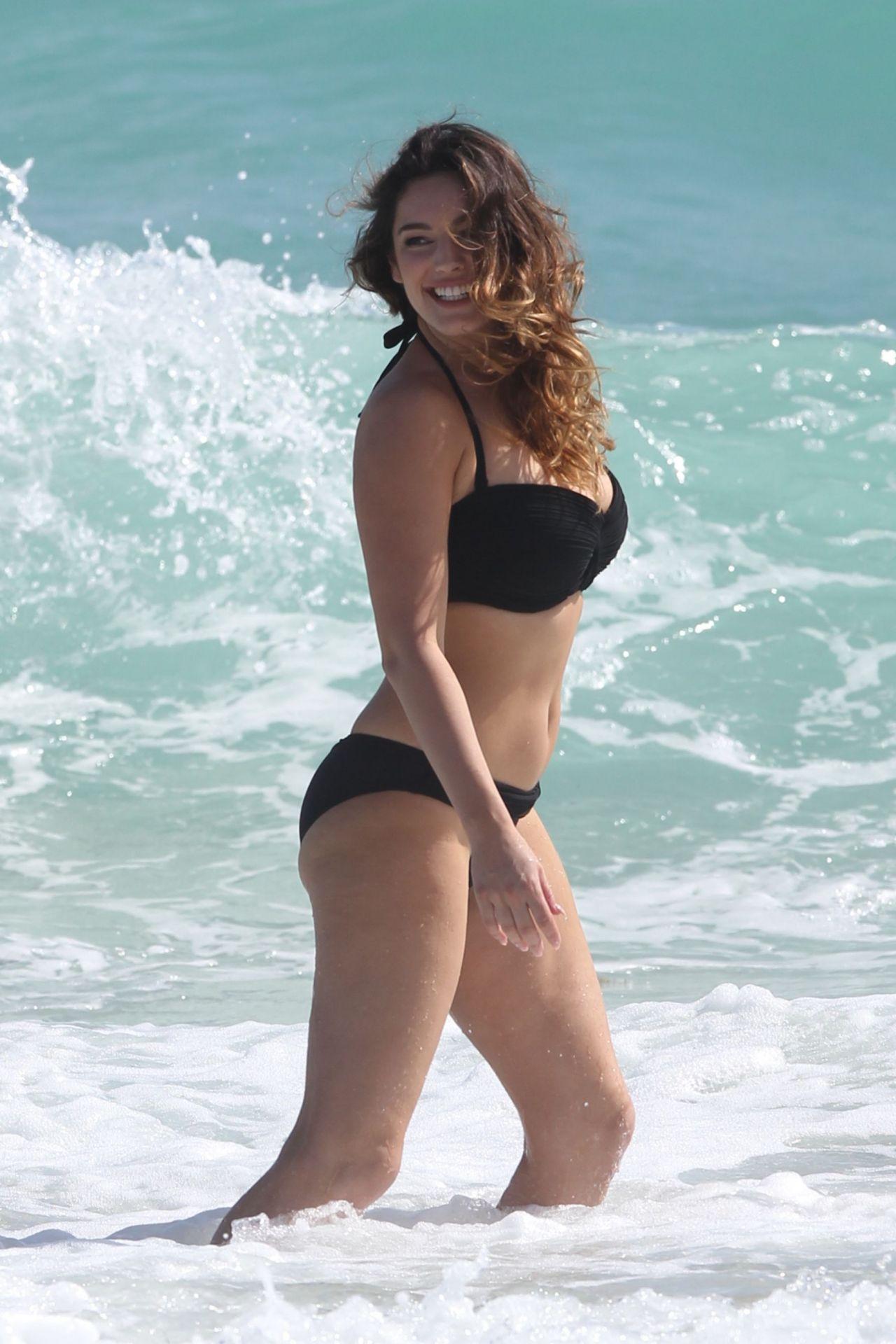 Kelly Brook In Black Bikini Miami Beach February 2014