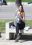 Kelly Brook in Black Spandex - With Boyfriend at Venice Beach California, Feb. 2014