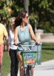 Kelly Brook Wearing Short Summer Dress - Riding a Bicycle South Beach Miami - February 2014