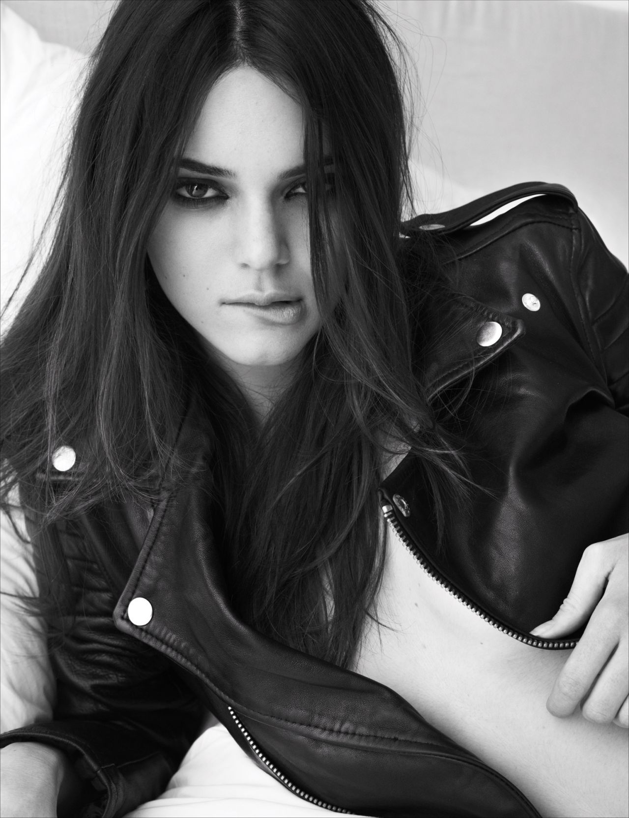 Kendall Jenner in W Magazine, March 2014 - Braless with Open Leather jacket in