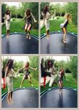 Kim and Khloe Kadashian Trampoline Action - February 2014