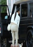 Kim Kardashian in Beige & White Combination - Out in Los Angeles, February 2014