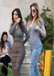 Kim Kardashian, Khloe Kardashian and Kylie Jenner - Arriving at Naimie