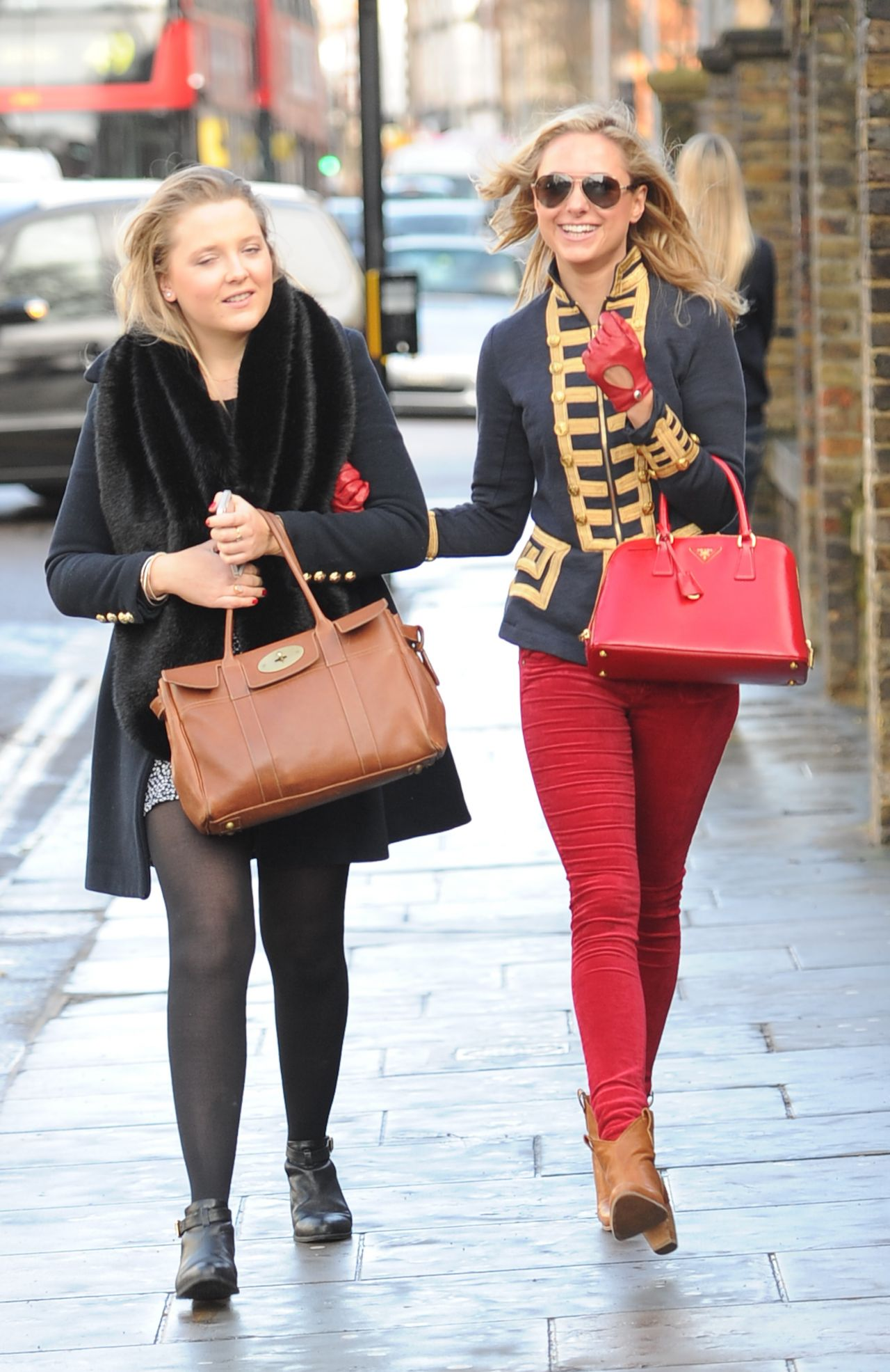 Kimberley Garner in a Red Tight Jeas - Shopping in London, February 2014
