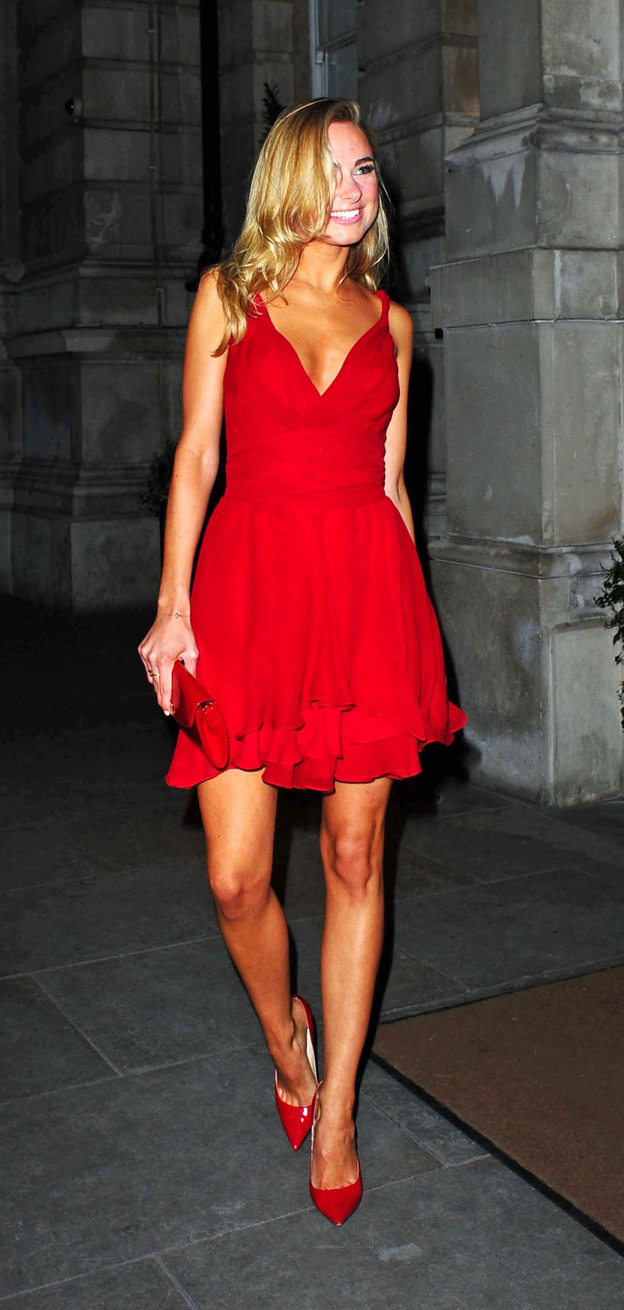 Kimberley Garner In Red Mini Dress