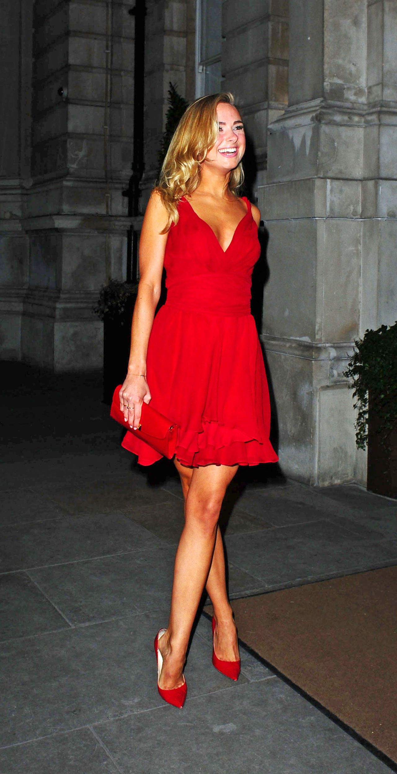 Kimberley Garner in Red Mini Dress - Langham Hotel - February 2014