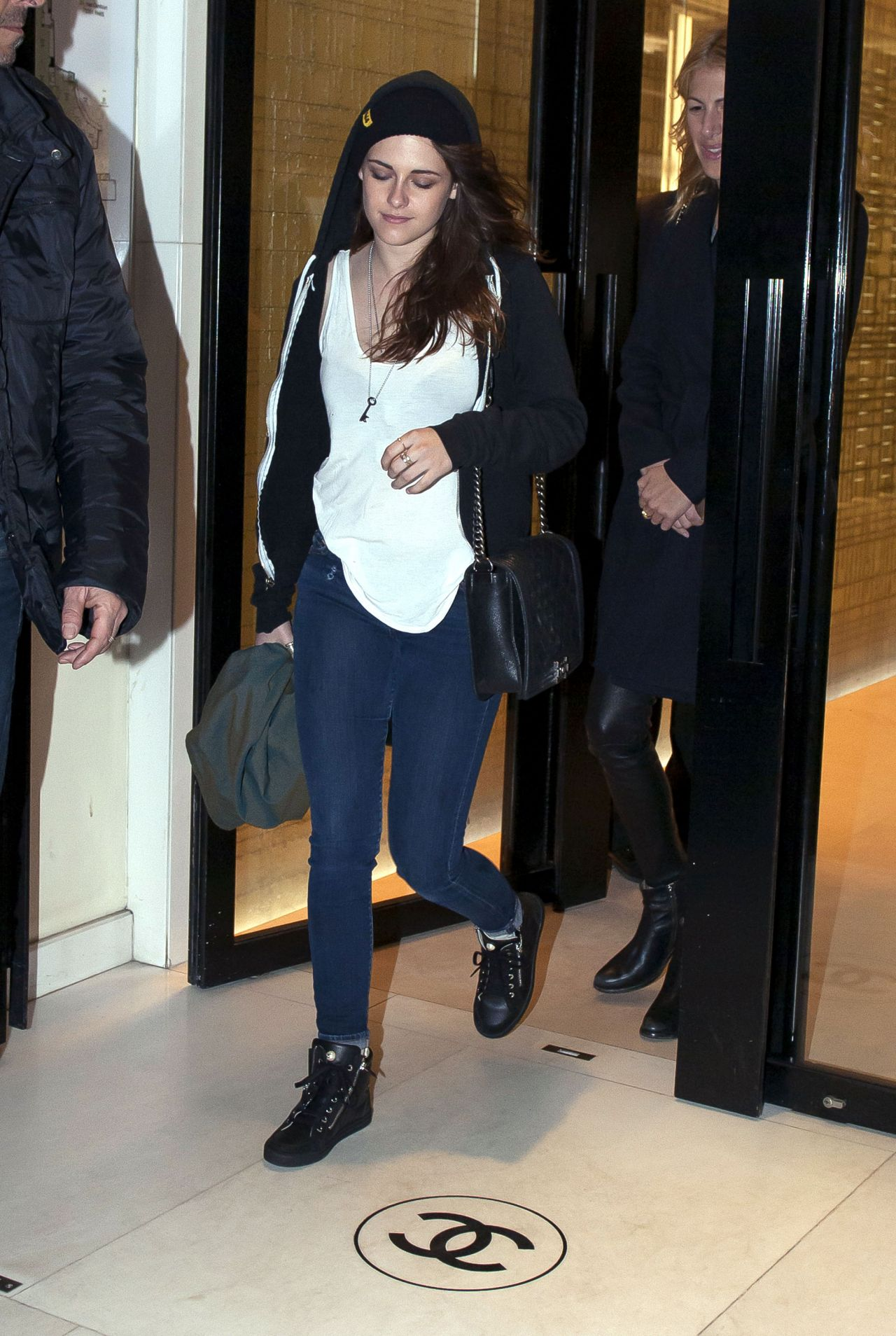 Kristen Stewart Street Style - Visiting Chanel Boutique in Paris - February 2014