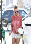 LeAnn Rimes Shows off Her Legs - in a Tiny White Shorts at a Gas Station in Los Angeles