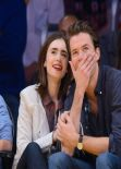 Lily Collins Attends Lakers vs Bulls Game in Los Angeles - February 2014