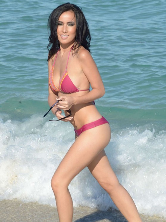 Lisa Opie Bikini Candids Miami February 2014
